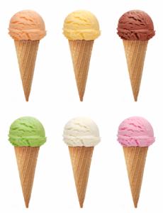 Ice creams with cone
