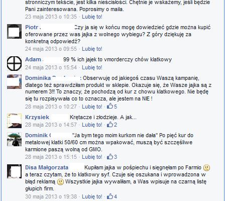Na profilu FB Farmio wiele osób zwracało uwagę, że czuje się oszukanych po zakupie jaj tej marki.
