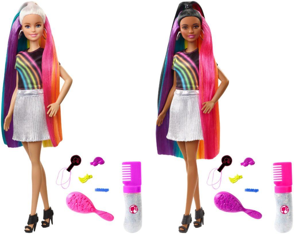 Barbie tęczowe włosy